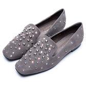 DIANA 摩登時尚--方頭立體鉚釘點綴水鑽真皮休閒鞋(灰)★特價商品恕不能換貨★