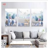 客廳沙發背景墻裝飾畫餐廳畫現代簡約大氣時尚掛畫高檔油畫三連畫 萬聖節