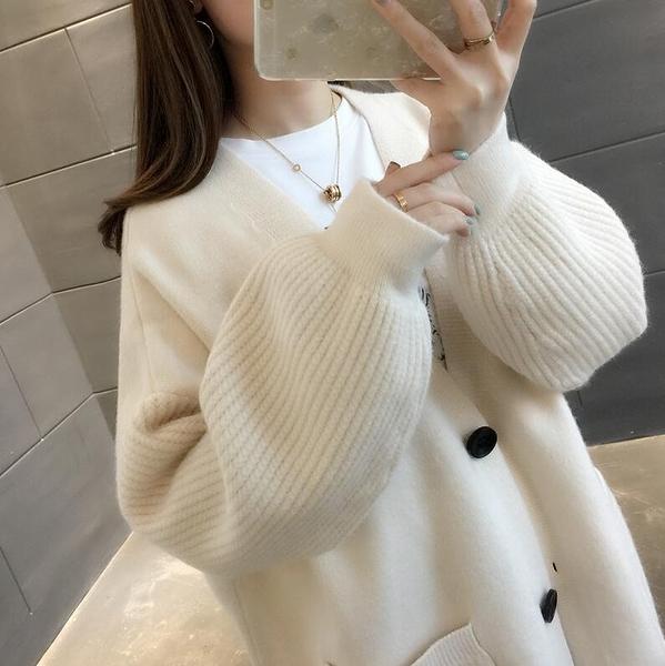 開衫外套 2020秋季新款V領針織衫女開衫秋裝學生純色寬松毛衣外套時尚女潮