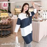 孕婦裝 MIMI別走【P12125】簡約休閒 藍白條紋棉質哺乳衣 長版上衣