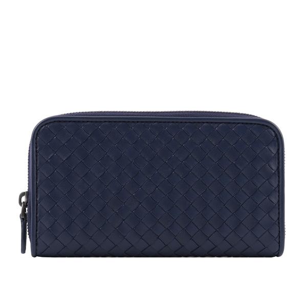 【BOTTEGA VENETA】小羊皮編織ㄇ型拉鍊長夾(海洋藍) 518389 V001N 4114