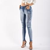 牛仔褲-水洗磨白線條鉛筆褲丹寧女小腳褲73wx8[巴黎精品]