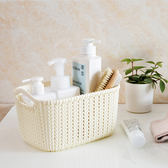 ♚MY COLOR♚仿藤編鏤空收納籃(小) 廚房 零食 收納盒 浴室 洗澡籃 桌面 歐風 塑料【P450】