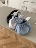 手提包柔軟PU皮革壓褶花邊磁扣手提包簡約純色韓國搭配水桶包女 宜室家居
