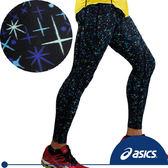 ASICS亞瑟士 印花體軸調整緊身褲(藍星芒L號) 全長緊身褲