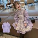 *╮S13小衣衫╭*女童田園風小碎花喇叭袖紫色連身裙洋裝1091002