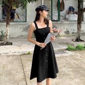 大韓訂製性感洋裝單排扣顯瘦赫本黑色連身裙正韓吊帶傘裙束腰