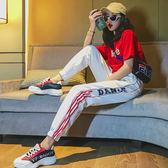 【GZ72】潮牌休閒運動長褲 原宿風男女寬鬆嘻哈收口束腳情侶褲 長褲