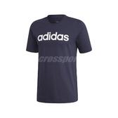 adidas 短袖T恤 Essentials Linear Logo Tee 藍 白 男款 短T 運動休閒 【ACS】 DU0406