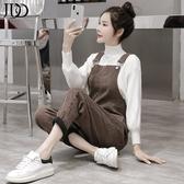 吊帶褲 2020秋冬季新款韓版加絨加厚寬鬆休閒吊帶褲加時尚高領毛衣套裝女 2色