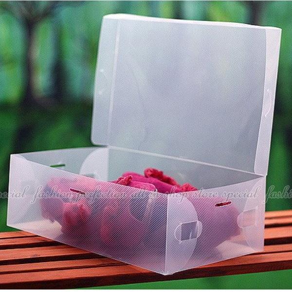 【DP135】翻開式鞋盒-女款 女鞋適用/透明鞋盒/收納鞋盒/收納盒 EZGO商城