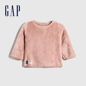 Gap嬰兒 仿羊羔絨圓領長袖上衣 616431-淡粉色