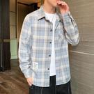 加絨襯衫男長袖2020秋冬季新款韓版潮流格子保暖襯衣外套秋裝上衣 果果輕時尚