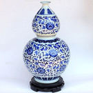 青花富貴蓮藤葫蘆陶瓷花瓶 仿古裝飾擺件...