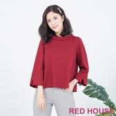 【RED HOUSE 蕾赫斯】翻領拼接格紋棉上衣(共兩色)