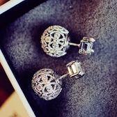 耳環 925純銀鑲鑽-鏤空雕花球生日情人節禮物女耳飾73du41[時尚巴黎]