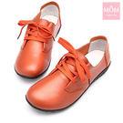 韓版舒適休閒真皮平底單鞋 休閒鞋 軟皮駕車鞋 橘 *MOM*