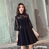禮服 宴會晚禮服女新款高貴優雅黑色洋裝聚會派對年會小禮服裙短款 Cocoa