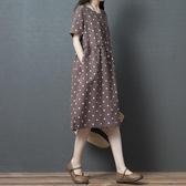 中大呎碼棉麻連身裙女夏新款寬鬆大碼苧麻印花圓點顯瘦短袖亞麻中長裙 新品
