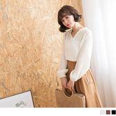 《AB5726》V領壓紋純色高含棉寬版襯衫 OrangeBear