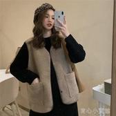 背心 西裝外套秋冬季新款韓版chic學生羊羔毛絨馬甲外套寬鬆外穿無袖馬甲背心女 快速出貨