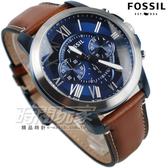 FOSSIL 美國品牌 羅馬紳士 三眼計時真皮腕錶 男錶 三眼錶 FS5151