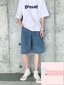 大碼百搭寬松直筒五分褲夏季薄款牛仔短褲男【櫻桃菜菜子】