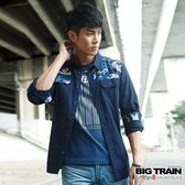 BIG TRAIN 原斜紋剪接花布襯衫-男-深藍