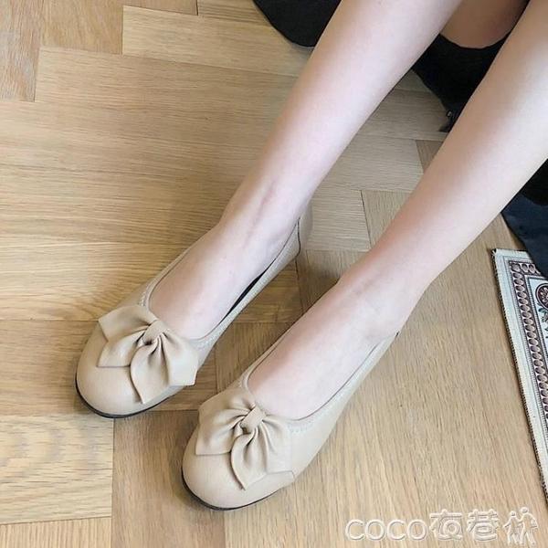 豆豆鞋35-43碼大碼女鞋淺口厚底樂福鞋女春秋41圓頭花朵防滑豆豆鞋子42  COCO