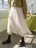 (快出)半身裙紗裙百褶裙女春秋中長款網紗半身裙高腰A字裙仙女裙子新款潮