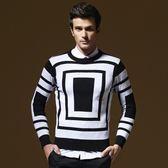 長袖針織衫-時尚方形幾何造型男針織毛衣73ik65[時尚巴黎]