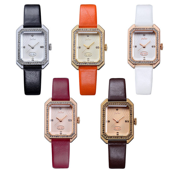 JULIUS 聚利時 凡爾賽午茶復古水鑽皮帶腕錶-橘色/22×30mm 【JA-824B】