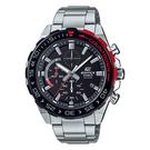 CASIO EDIFICE 搶眼撞色紅旋轉錶圈運動錶(EFR-566DB-1A)-黑x49mm