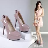 韓版12CM超高跟細跟單鞋女春甜美蝴蝶結水鑚公主鞋淺口高跟鞋『潮流世家』