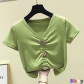 [Bbay] 短版上衣 牛油 果綠 短袖t恤 修身 短裝 設計感 漏肚臍上衣