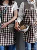 日式加厚棉麻布藝韓版格子廚房清潔圍裙 可愛韓式罩衣店服工作服     ciyo黛雅
