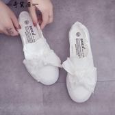 半拖帆布鞋女2018夏季新款韓版無后跟懶人鞋百搭一腳蹬基礎小白鞋