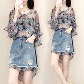 俏皮套裝 女夏季新款小清新洋氣兩件套時尚 LR2337【每日三C】