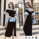 MG 夜店長裙-氣質修身顯瘦性感喇叭袖連身裙