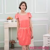 【RED HOUSE 蕾赫斯】亮面合身洋裝(粉橘色)