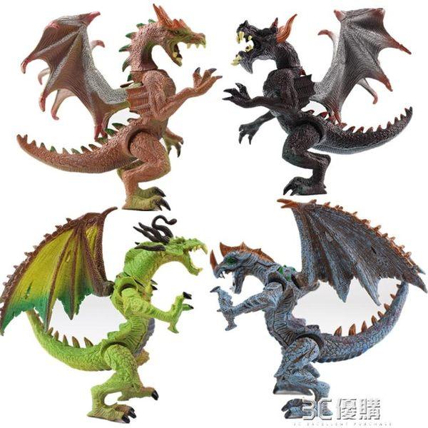 仿真玩具西方恐龍4D拼裝變形地獄龍飛龍模型兒童生日禮物 3C優購