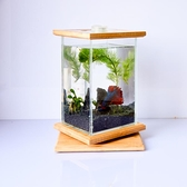 魚缸 創意超白玻璃迷你魚缸客廳小型辦公室旋轉桌面生態斗魚缸水族箱 快速出貨