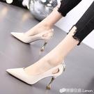 高跟鞋細跟新款春季尖頭性感鏤空網紅法式少女蝴蝶結百搭單鞋