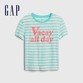 Gap女童 復古條紋字母圓領短袖T恤 577831-冰藍色