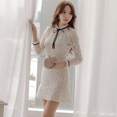 洋裝-蕾絲韓版氣質小香風高領鏤空修身顯瘦長袖連身裙72f42[巴黎精品]