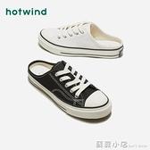 熱風新款學院風女士時尚鞋圓頭帆布鞋半拖鞋H14W9720 蘇菲小店
