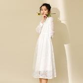 長袖洋裝-鏤空蕾絲鈎花過膝連身裙73xm1[時尚巴黎]