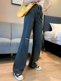 大碼胖MM女高腰垂感顯瘦直筒拖地褲寬松闊腿褲長褲F2128-A依佳衣