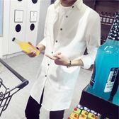 夏季風衣男薄款青少年亞麻長款純色外套超薄透氣防曬服潮流外套 「爆米花」
