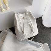蕾絲2021新款手提包購物袋鏤空沙灘包仙女刺繡單肩包包手袋仙女包 【端午節特惠】